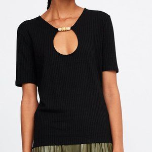 ZARA Black Ribbed & Beaded Tee